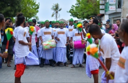 June 4, 2019, Male' City: A 'Boduberu' traditional drum troupe perform in the cultural parade held on the occasion of Eid al-Fitr. PHOTO: HUSSAIN WAHEED / MIHAARU