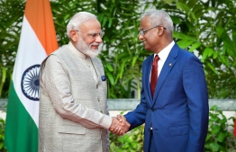 Indian Prime Minister Narendra Modi (L) and President Ibrahim Mohamed Solih at the President's Office. PHOTO: NISHAN ALI / MIHAARU