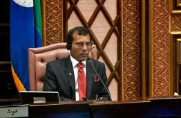 June 8, 2019, People's Majilis, Male' City: Speaker Mohamed Nasheed chairs the sitting as Indian Prime Minister Narendra Modi addresses the Maldivian parliament. PHOTO: HUSSAIN WAHEED/MIHAARU