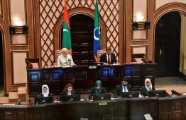 June 8, 2019, People's Majilis, Male' City: Indian Prime Minister Narendra Modi and Parliament Speaker Mohamed Nasheed after the former's address the Maldivian parliament. PHOTO: HUSSAIN WAHEED/MIHAARU