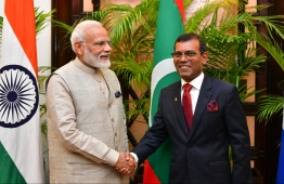 June 8, 2019, People's Majilis, Male' City: Indian Prime Minister Narendra Modi and Speaker Mohamed Nasheed at the Maldivian parliament. PHOTO: HUSSAIN WAHEED/MIHAARU