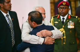 June 8, 2019, People's Majilis, Male' City: Indian Prime Minister Narendra Modi is greeted by Parliament Speaker Mohamed Nasheed as he arrives to address the Maldivian parliament. PHOTO: HUSSAIN WAHEED/MIHAARU