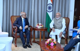 Indian Prime Minister Narendra Modi meeting former president Maumoon Abdul Gayoom, the leader of the Maumoon Reform Movement. PHOTO: PRESIDENCY MALDIVES