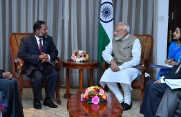 Indian Prime Minister Narendra Modi meeting Adhaalath Party leader and Minister of Home Affairs Imran Abdula. PHOTO: PRESIDENCY MALDIVES