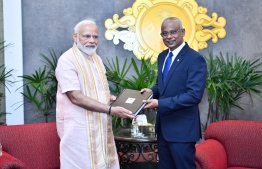 Prime Minister of India Narendra Modi pictured with President Ibrahim Mohamed Solih on a State Visit to Maldives. PHOTO: PRESIDENT'S OFFICE
