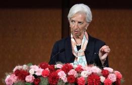"International Monetary Fund (IMF) managing director Christine Lagarde speaks at a G20 high-level seminar on financial innovation entitled ""Our Future in the Digital Age"" on the sidelines of the G20 finance ministers and central bank governors meeting in Fukuoka on June 8, 2019.  Kiyoshi Ota / POOL / AFP"