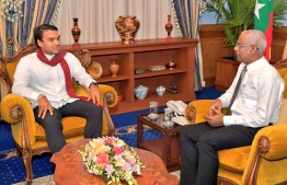 Sri Lankan politician Namal Rajapaksa (L) calls on President Ibrahim Mohamed Solih. PHOTO: NAMAL RAJAPAKSA TWITTER