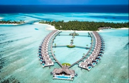 Aerial view of water villas in Niyama Private Island Resort. PHOTO: NIYAMA RESORT