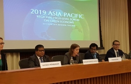 Minister of Environment Dr Hussain Rasheed Hassan (2L) during the 2019 Asia-Pacific Regional High-level Forum on Green Economy. PHOTO: MINISTRY OF ENVIRONMENT