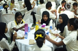 Students of Thaajuddeen School enjoying their school breakfasts. Providing a healthy breakfast for every student is a key pledge of President Ibrahim Mohamed Solih's administration. PHOTO: HUSSAIN WAHEED/MIHAARU
