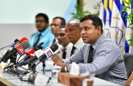 Press briefing held by the State Electric Company Limited (STELCO). PHOTO: HUSSEIN WAHEED/ MIHAARU