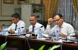 A parliamentary committee meeting. PHOTO: HUSSEIN WAHEED/ MIHAARU