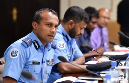 Commissioner of Maldives Police Service Mohamed Hameed at the Committee on National Security. PHOTO: NISHAN ALI/MIHAARU