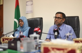 Members of Judicial Service Commission (JSC) at a press conference. PHOTO: HUSSAIN WAHEED / MIHAARU