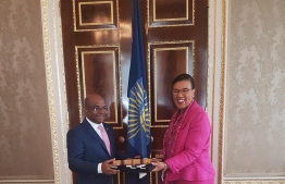 Minister Abdulla Shahid met with the Secretary General of Commonwealth Patricia Scotland to discuss Maldives rejoining the Commonwealth and officially submit the documents requested by the organisation. PHOTO: FOREIGN MINISTRY