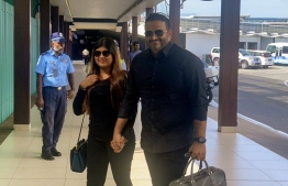 Ex-Vp Ahmed Adeeb and his wife Mariyam Nashwa travelled to India for his medical treatment. PHOTO: SOCIAL MEDIA