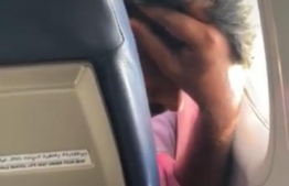 A screengrab of one of the videos posted by the victim of her harasser on the Maldivian flight. PHOTO: Facebook