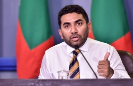 Minister of Health Abdulla Ameen speaking at the press conference held at the President's Office. PHOTO: NISHAN ALI/MIHAARU