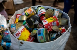 Tin cans collected during the 'Zero Waste Challenge'. PHOTO: SONEVA FUSHI