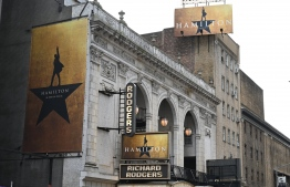 "The Richard Rodgers Theatre is seen on June 6, 2019 located on 226 West 46th Street where ""Hamilton"", one of Broadway's biggest hits, is playing in New York. After triumphing on Broadway, the lower 48 and London's West End, ""Hamilton"" is eyeing its first non-English production as well as tours throughout Europe and Asia. The much-decorated musical, currently staged in London, New York and four other US cities each night, last month announced plans to launch in Sydney in early 2021 in a production expected to tour Australia before going to Asia, its producer said in an interview. PHOTO/AFP"