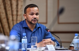 Kendhoo MP Ali Hussain speaks at a parliamentary judiciary committee meeting. PHOTO/MIHAARU