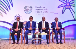 Minister of Finance Ibrahim Ameer (L), Vice President Faisal Naseem (C-L), President Ibrahim Mohamed Solih (C-R) and Minister of Foreign Affairs Abdulla Shahid (R) during the welcome reception. PHOTO: MINISTRY OF FOREIGN AFFAIRS