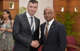 Serbian Minister of Labour, Employment, Veteran and Social Policy Zoran Djordjevic alongside President Ibrahim Mohamed Solih (R), during the Maldives Partnership Forum. PHOTO: PRESIDENT'S OFFICE
