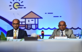 Minister of Finance Ibrahim Ameer and Minister of Foreign Affairs Abdulla Shahid, during the press conference following the conclusion of the Maldives Partnership Forum. PHOTO: HUSSAIN WAHEED / MIHAARU