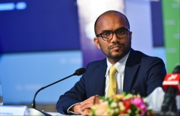 Minister of Finance Ibrahim Ameer participating in the Maldives Partnership Forum 2019. PHOTO: HUSSAIN WAHEED