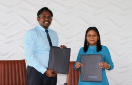 Photograph taken at the ceremony held by Ooredoo Maldives and the Ministry of Fisheries and Agriculture to introduce farmers mobile plan. PHOTO: OOREDOO MALDIVES