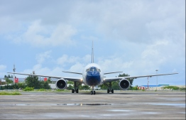 A Blue Panorama airplane lands in VIA. PHOTO: HUSSAIN WAHEED / MIHAARU