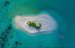 An aerial view of Odegalla, Gaafu Alif Atoll. The island is a popular nesting site for birds and turtles. PHOTO: AHMED NASEEM