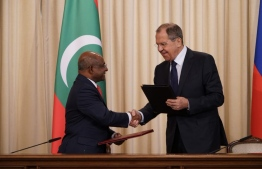 Minister of Foreign Affairs Abdulla Shahid signed the agreement by with Russian Foreign Minister Sergey Lavrov. PHOTO: MINISTRY OF FOREIGN AFFAIRS