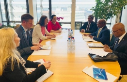 Minister of Foreign Affairs Abdulla Shahid sits with EU Commissioner for Trade Cecilia Malmstrom. PHOTO: MINISTRY OF FOREIGN AFFAIRS