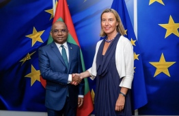 Minister of Foreign Affairs Abdulla Shahid meets with EU High Representative/ Vice President of European Commission. PHOTO: MINISTRY OF FOREIGN AFFAIRS
