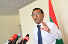 Former president and Parliament Speaker Mohamed Nasheed speaks at a press conference on June 30, 2019. PHOTO: HUSSAIN WAHEED / MIHAARU
