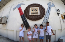 Five kids are depicted taking part in the engineering component of the 'Little Big Hotelier' programme. PHOTO: HOLIDAY INN RESORT KANDOOMA MALDIVES