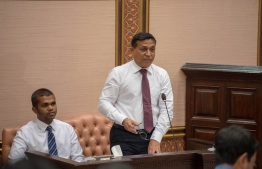 Minister of Planning and Infrastructure Mohamed Aslam speaking at the Parliament. PHOTO: PARLIAMENT