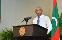 PRESIDENT IBRAHIM MOHAMED SOLIH (IBU) PRESS BRIEFING. PHOTO: HUSSAIN WAHEED/MIHAARU