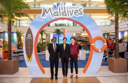 The Expo kicked off through a ribbon cutting ceremony by the Managing Director of MMPRC Thoyyib Mohamed, AirAsia's Regional Commercial Director Amanda Woo (R) and Maldivian Ambassador-Designate to Malaysia Visam Ali (C). PHOTO: MALDIVES MARKETING AND PUBLIC RELATIONS CORPORATION / VISIT MALDIVES