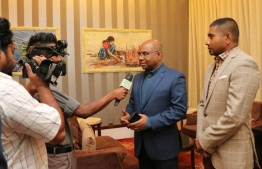 Ministry of Foreign Affairs Abdulla Shahid and Ministry of Youth, Sports and Community Empowerment Ahmed Mahloof seeks support for bid to hold IOIG 2023. PHOTO: MINISTRY OF FOREIGN AFFAIRS.