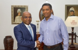 Top diplomat Minister of Foreign Affairs Abdulla Shahid calls on Seychelles' President Danny Faure. PHOTO: MINISTRY OF FOREIGN AFFAIRS