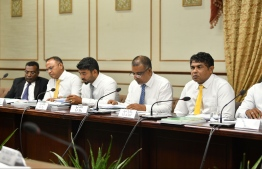 A session of the parliament's State Owned Enterprises (SOE) Committee in progress. PHOTO: HUSSAIN WAHEED/ MIHAARU