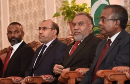 (R-L): Chief Justice Dr Ahmed Abdulla Didi, Judge Ahmed Areef, Judge Adam Mohamed Abdulla, and Judge Abdulla Didi of the Supreme Court. PHOTO/MIHAARU