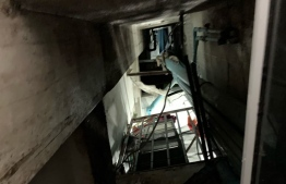 The elevator shaft through which the 76-year-old woman fell. PHOTO: POLICE