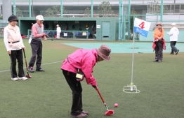 Sporting programme for the elderly, 'Ground Golf' to commence in Male' City and reclaimed suburb Hulhumale'. PHOTO: SHINAGAWA CITY NEWS.