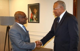 Minister of Foreign Affairs Abdulla Shahid and Special Representative of the Prime Minister of Madagascar and acting Minister of Foreign Affairs Hajo Andrianainarivelo.