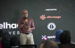 Dhiraagu's CEO and Managing Director Ismail Rasheed speaking at the inauguration of AngelHack. PHOTO: DHIRAAGU
