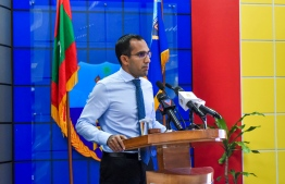Minister of Communication, Science and Technology Maleeh Jamaal speaking at the ceremony held at Customs Headquarters, inspired by UNESCO's World Youth Skills Day. PHOTO: TVET AUTHORITY