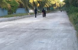 Road cleared for pavement construction in Fuvahmulah. PHOTO: MIHAARU